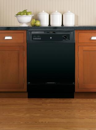 "GE GSD3300DBB 24"" 3300 Series Built In Full Console Dishwasher with 12 Place Settings Place Settingin Black"
