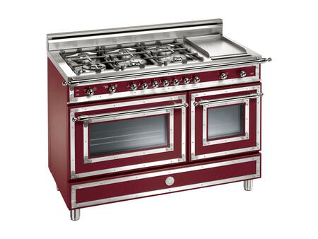 "Bertazzoni H486GGGVVI 48"" Heritage Series Natural Gas Freestanding Range with 6 Sealed Burner Cooktop Storage 2.9 cu. ft. Primary Oven Capacity 