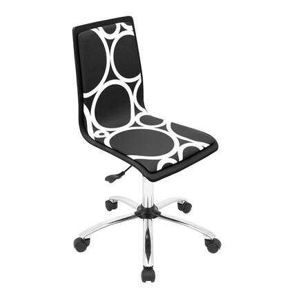 """LumiSource Printed OFC-TMP 34"""" - 38"""" Office Chair with Patterned Seat, 360-Degree Swivel and Casters in"""