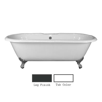"""Barclay CTDRH Duet 67"""" Cast Iron Double Roll Top Tub with Non-Skid Strips, White Enamel Interior, and Claw Feet, in"""