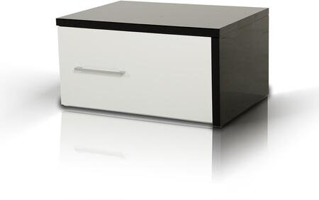 """VIG Furniture Modrest Infinity 23"""" Contemporary Nightstand with 1 Drawer, Metal Handle, Wood Construction and Two Tone Finish in Black and White"""
