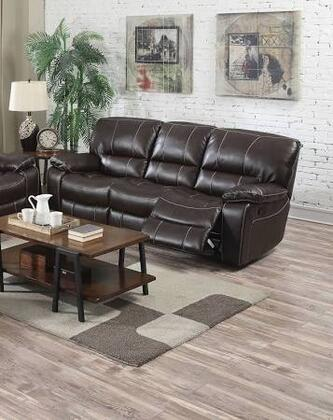 """Acme Furniture Kimberly Collection 92"""" Motion Sofa with Tight Cushions, Split Back Cushions, Reclining Mechanism, Pillow Top Arms and Leather-Air Upholstery in Brown Color"""