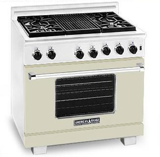 American Range ARR364GDBG Heritage Classic Series Natural Gas Freestanding Range with Sealed Burner Cooktop, 5.6 cu. ft. Primary Oven Capacity, in Beige