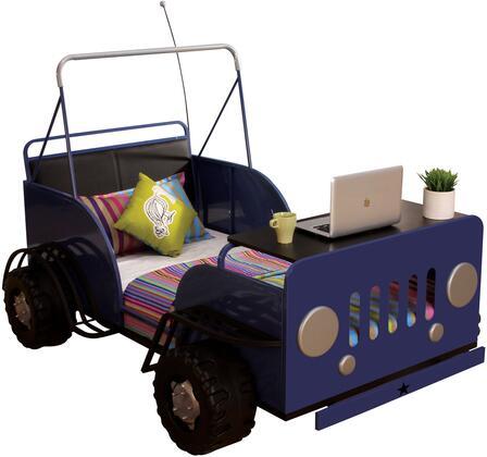 "Acme Furniture Casper 82"" Twin Size Bed with 7 Metal Slats, Fiberproof Sponge, Car Design, Black PU Back, MDF and Metal Construction in"