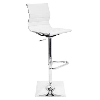 """LumiSource Master BS-TW-MASTER 37"""" - 46"""" Barstool with 360-Degree Swivel, Chrome Accents and PU Leather Upholstery in"""