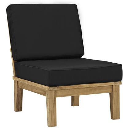 Modway EEI-1150-NAT Marina Outdoor Patio Teak Middle Sofa with Water/UV Resistant Cushions, Machine Washable Covers, Richly Textured Wood Grain and Solid Teak Construction
