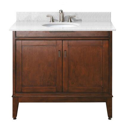 Avanity MADISON-VSX-TO-C Vanity with Carrera White Marble Top, White Sink, Soft Close Doors, and Soft Close Drawers, in Tobacco Finish