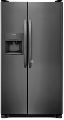 "Frigidaire FFSS2615Tx 36"" Side-by-Side Refrigerator with 25.5 cu. ft. Capacity, LED Lighting, External Ice and Water Dispenser, 2 Store-More Glass Shelves, 2 Wire Freezer Shelves, and Automatic Ice Maker, in"