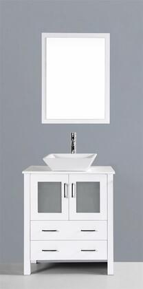 """Bosconi AW130SXX XX"""" Single Vanity with Phoenix Stone Counter Top, Square Ceramic Vessel Sink, Matching Mirror, X Soft Closing Drawers, Cabinet, and Silver Hardware Finish in White Finish"""