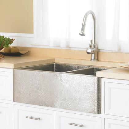 "Native Trails Copper Kitchen Sinks Collection Farmhouse Duet Kitchen Sink with 3.5"" Drain Opening, Double Bowl, Apron Front Installation, Brushed Nickel and Copper Material in Brushed Nickel Finish"