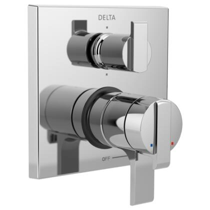 Ara T27967 Delta Ara: Angular Modern Monitor 17 Series Valve Trim with 6-Setting Integrated Diverter in Chrome