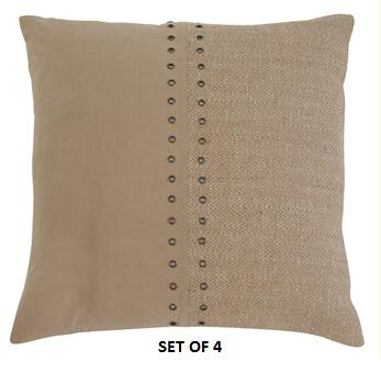 """Signature Design by Ashley Textured A1000318X 18"""" x 18"""" Pillow with Fiber Filling, Jute Cover and Button-Up Look in Natural"""