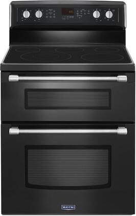 Maytag MET8720D Smoothtop Electric Double Oven Range with 6.7 cu. ft. Cooking Capacity, 5 Radiant Elements, EvenAir True Convection, Self-Clean Technology, 3200-Watt Power Element, and Hidden Bake Element in