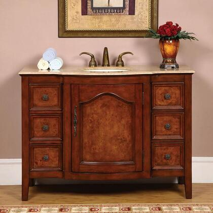 "Silkroad Exclusive HYP-0701-UIC-48 Rebecca 48"" Single Sink Cabinet with 6 Drawers, 1 Door, Top and Undermount Ivory Ceramic Sink (3-Hole) in Brown Finish"