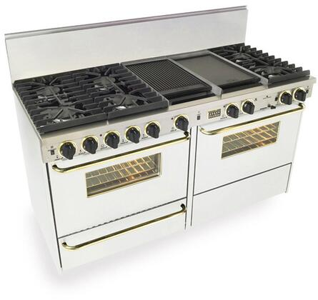 """FiveStar WTN6377SW 60""""  White with Brass Dual Fuel Freestanding Range with Sealed Burner Cooktop, 3.69 cu. ft. Primary Oven Capacity, Broiler"""