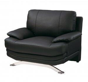 Global Furniture USA 9250CH Black Leather with Metal Frame