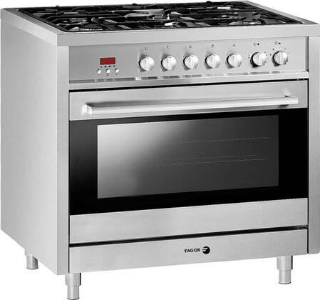 "Fagor RFA365DF 36"" Dual Fuel Freestanding Range with Sealed Burner Cooktop, 3.7 cu. ft. Primary Oven Capacity, in Stainless Steel"