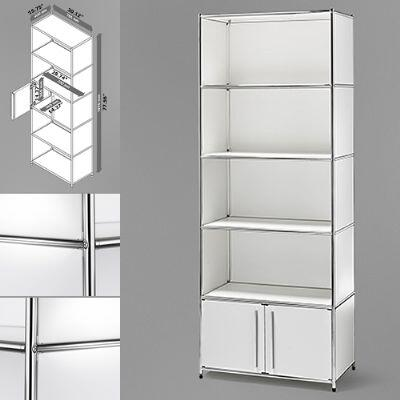 "Infinita 8144950123XX 30"" Wide System4-SIMPLI Modular Bookcase with 5 Shelves and One Double Door, Steel Construction in X and Chrome Finish"