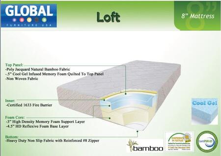 "Global Furniture USA B855MF Loft 8"" High x Size Mattress with Cool Gel Infused Memory Foam"