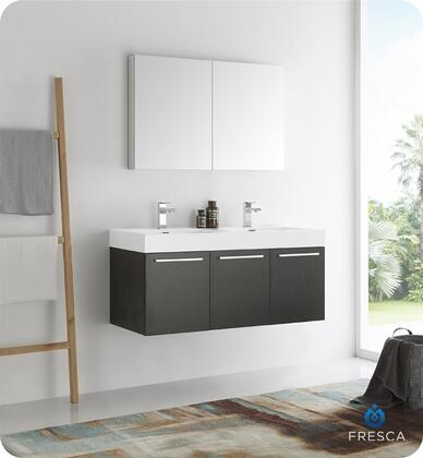 """Fresca Vista Collection FVN8092 48"""" Wall Hung Double Sink Modern Bathroom Vanity with Medicine Cabinet, 3 Soft Closing Doors and Integrated Acrylic Countertop and Sink in"""