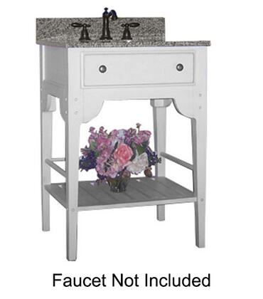 """Kaco Dover Collection 340-3000-W 30"""" Single Sink Vanity with Bottom Shelf, Faux Drawer Front and Cottage White Sherwin Williams Finish with Granite Top"""