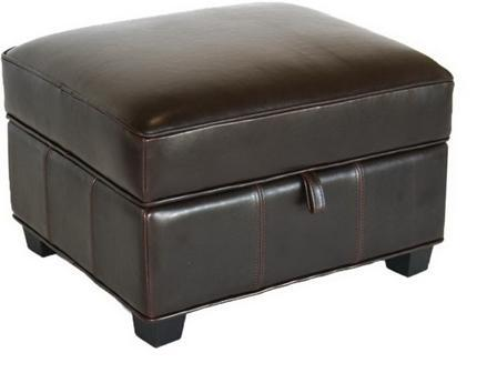 Wholesale Interiors A136001OTTOMAN Agustus Series Traditional Leather Ottoman