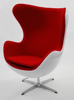 Fine Mod Imports FMI9011RED Fiesta Series Club Wood Fiberglass Frame Accent Chair