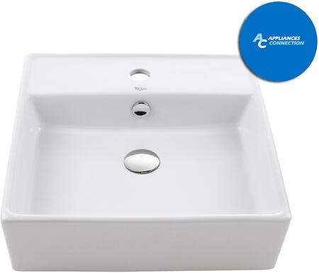 Kraus KCV150X White Ceramic Series Square Ceramic Vessel Sink with Included Pop-up Drain