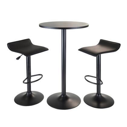Winsome 203XX 3pc Table Set, Round Table Counter Height with 2 Stools in Black Finish