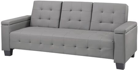 "Glory Furniture 84"" Sofa Bed with Tapered Legs, Drop Down Center Console, Cupholders, Arm Storage, Tufted Details, Track Arms and Faux Leather Upholstery in"