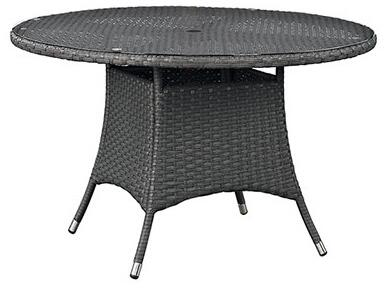 Modway Sojourn EEI192CHC Round Outdoor Patio Dining Table with Tempered Glass Top, Umbrella Hole, Aluminum Tube Frame, Water and UV Resistant in Chocolate Color