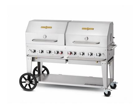 "Crown Verity CVMCB60RDP 60"" Liquid Propane Mobile Grill up to 129,000 BTU in Stainless steel"