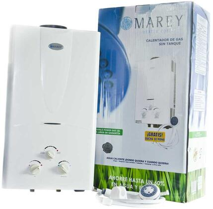 Marey GA10 Portable Gas Water Heater with 3.1 GPM Flow Rate, Rustproof Design and Anti-Combustion Protection, in White