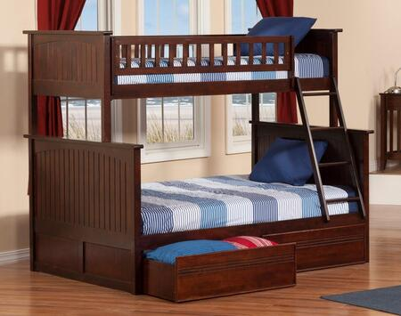 Atlantic Furniture AB5921 Nantucket Bunk Bed Twin Over Full With Flat Panel Bed Drawers