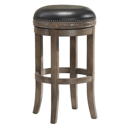 American Heritage 11116X Sonoma Series Stool with Weathered Oak Wooden Frame and Bonded Leather Cushion in Onyx