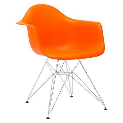 EdgeMod EM111CRMORA Padget Series Modern Metal Frame Dining Room Chair