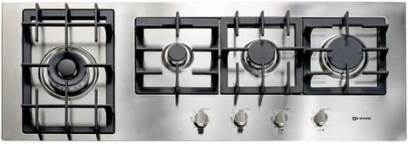 "Verona Designer Series VECTGMXXXSS XX"" Gas Cooktop With X Burner Design, Front Controls, Sealed Burners, Heavy Duty Cast Iron Grates & Caps and 20,000 BTU tested in Stainless Steel"