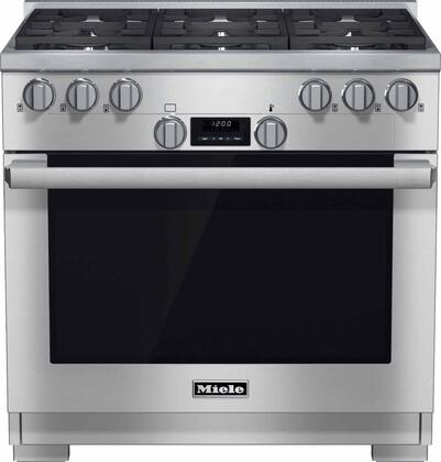 "Miele HR1134 36"" Pro-Style Gas Range with 5.8 cu. ft. Twin Convection Fan Oven, 6 Sealed M Pro Dual Stacked Burners, TrueSimmer Burners, Self-Cleaning, and 5 Operating Modes in Stainless Steel"