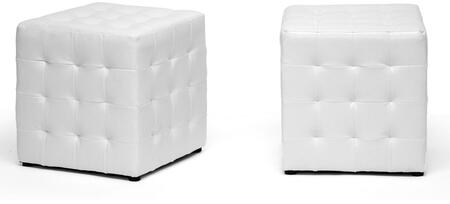 Wholesale Interiors BH5589WHITEOTTO Siskal Series Modern Faux Leather Ottoman