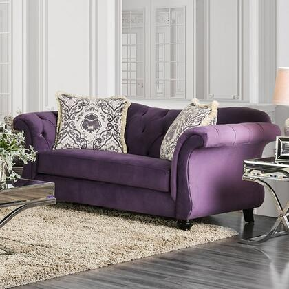 "Furniture of America Antoinette Collection SM222X-LV 75"" Love Seat with Rolled Arms, Reverse Camelback Design and Deep Tufting in"