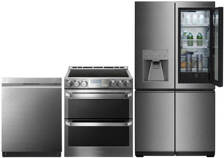 Lg Signature 975610 4 Piece Textured Steel Kitchen Appliances Package