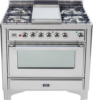 """Ilve UM906MPIX 36"""" Majestic Series Stainless Steel Dual Fuel Freestanding Range with Sealed Burner Cooktop, 2.8 cu. ft. Primary Oven Capacity, Warming"""