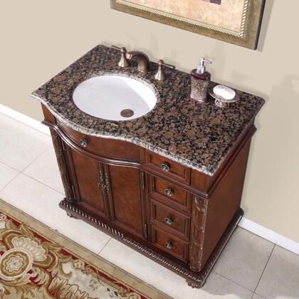 """Silkroad Exclusive HYP-0213-BB-UWC-36 Victoria 36"""" Single Sink Cabinet with 2 Doors, 4 Functionable Drawers, Baltic Brown Granite Top and Undermount White Ceramic Sink (3-Hole) in Cherry Finish"""