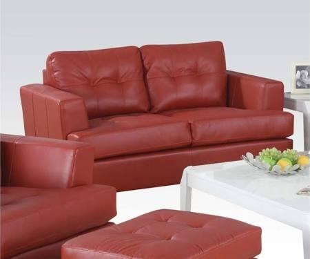 "Acme Furniture Platinum 63"" Loveseat with Loose Back Cushions, Block Legs, Wood Frame, Track Arms, Tufted Back and Bonded Leather Upholstery in"