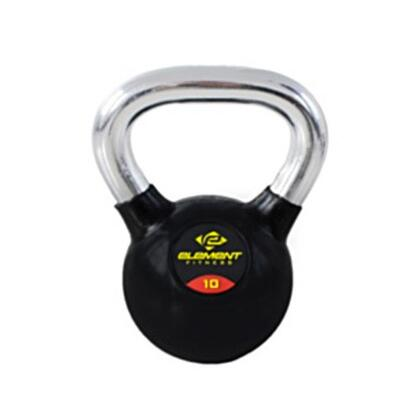 Element Fitness E-200-KBELL Commercial Chrome Handle Kettle Bell with Black Rubber Casing