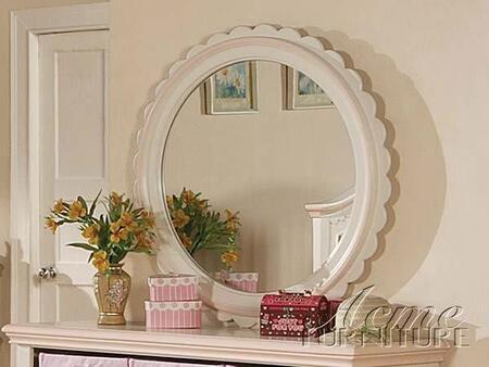 Acme Furniture 00760 Crowley Series Round Portrait Dresser Mirror