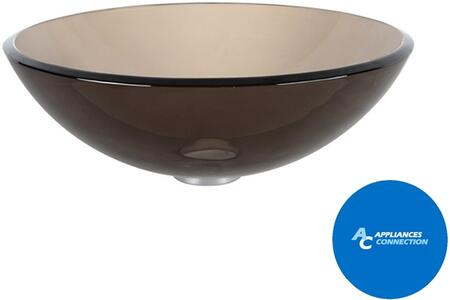 "Kraus CGV1031412MM1002 Singletone Series 14"" Round Vessel Sink with 12-mm Tempered Glass Construction, Easy-to-Clean Polished Surface, and Included Sheven Faucet, Clear Brown Glass"