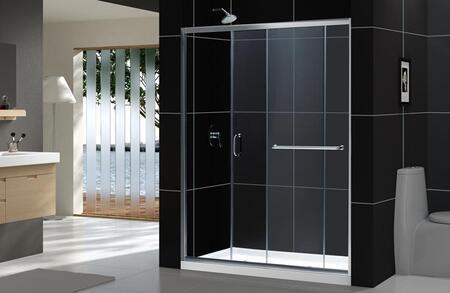 """DreamLine SHDR0960580 DreamLine Infinity-Z 56 to 60"""" Frameless X 1/4"""" Glass Door Sliding Tub Door in"""