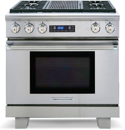"American Range ARR-364GRDF 36"" Medallion Series Dual Fuel Range with 5.7 cu. ft. Oven Capacity, 4 Sealed Burners, 3 Size Burners, 11"" Char-Grill, Self-Cleaning and Programmable Digital Control, in Stainless Steel:"