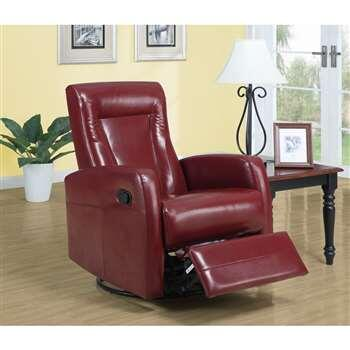 Monarch I8081RD Transitional Bonded Leather Wood Frame Rocking Recliners